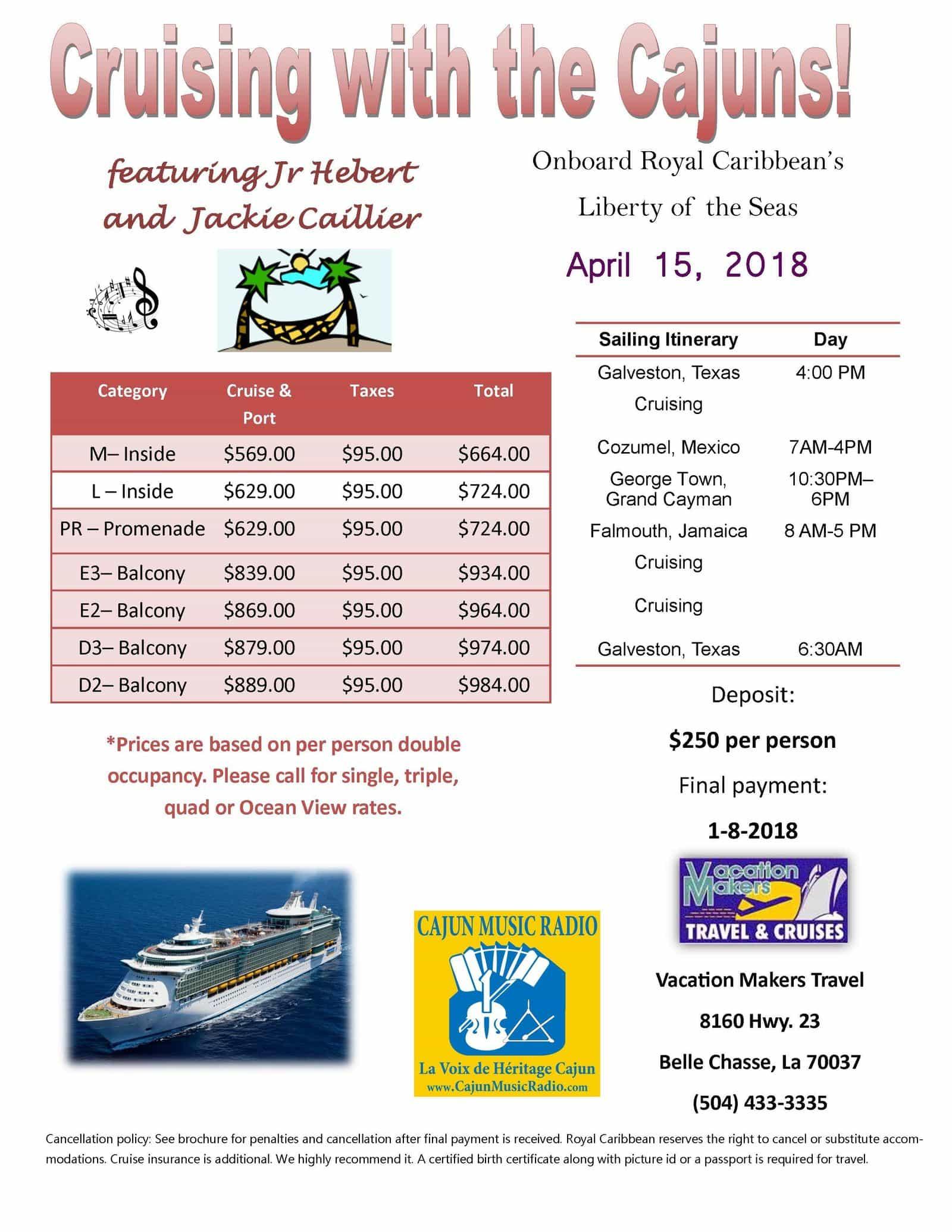 Details for the Cruising with the Cajuns cruise